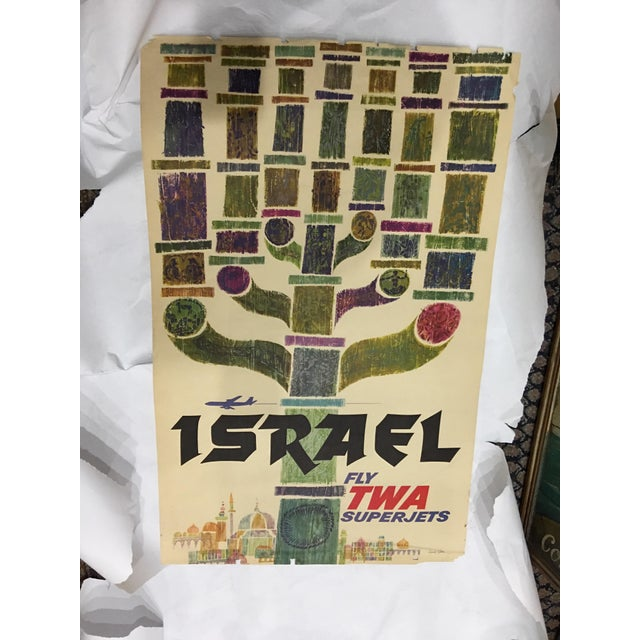 A beautiful original poster for TWA Israel circa 1960 by David Klein. A very strong image. Edges frayed.