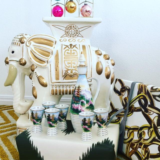 Midcentury Porcelain Sake Set - 8 Pieces - Image 3 of 7