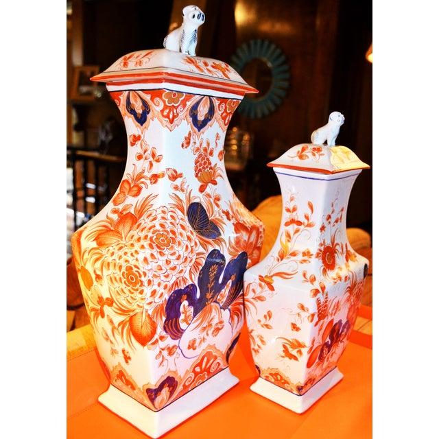 Italian Meiselman Foo Dog Vases - Pair - Image 4 of 7