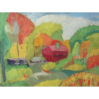 Colorful Landscape With Barn, Oil Painting, Mid Century For Sale