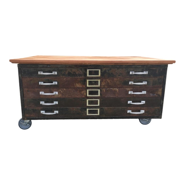 1980s Industrial Reclaimed Flat File Coffee Table For Sale