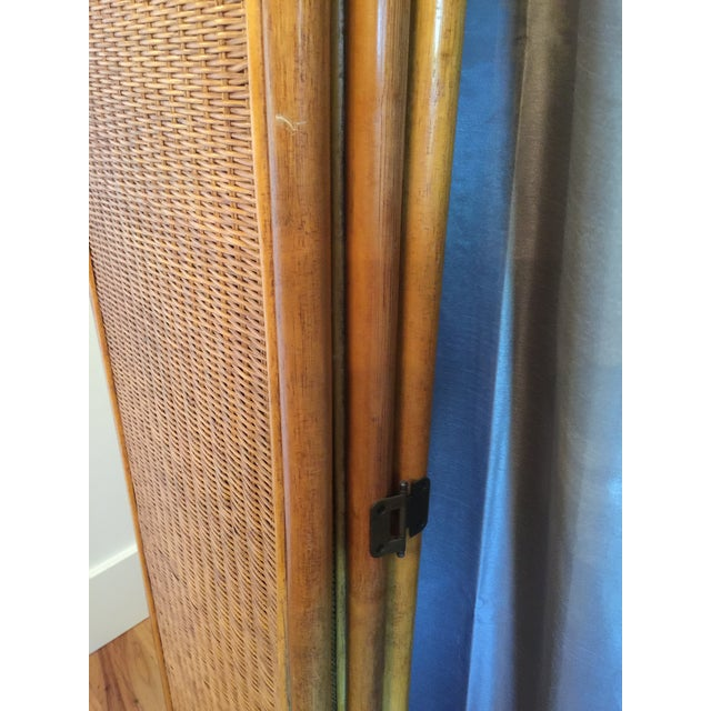 Vintage Rattan Bamboo 3 Panel Folding Screen Room Divider For Sale - Image 6 of 10