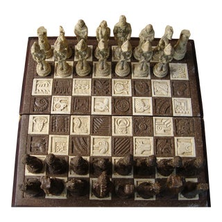 1960s Carved Sandstone Aztec Chess Board For Sale