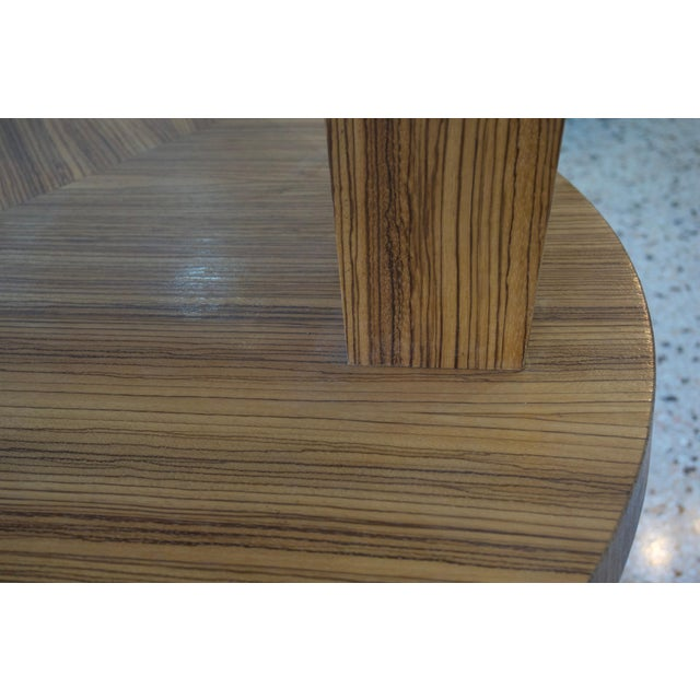 Wood Art Deco Revival Center Table in Exotic Zebrano Wood For Sale - Image 7 of 9