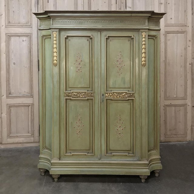 Antique Italian Neoclassical Painted Armoire For Sale - Image 13 of 13