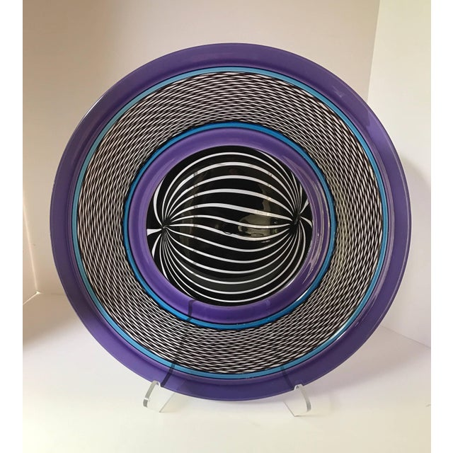 Large Purple Art Glass Plate Charger Signed by Peter Greenwood For Sale In New York - Image 6 of 6