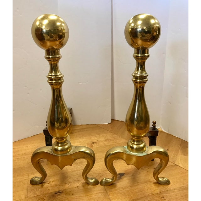 Brass New England Solid Cast Brass Andirons Fire Dogs - A Pair For Sale - Image 7 of 7