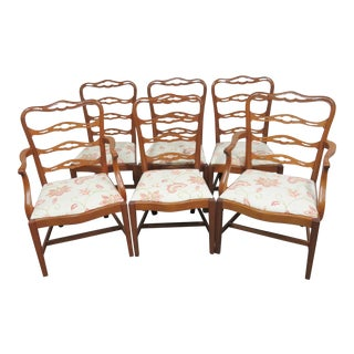 Chippendale Saybolt & Cleland Ribbonback Mahogany Dining Chairs - Set of 6 For Sale