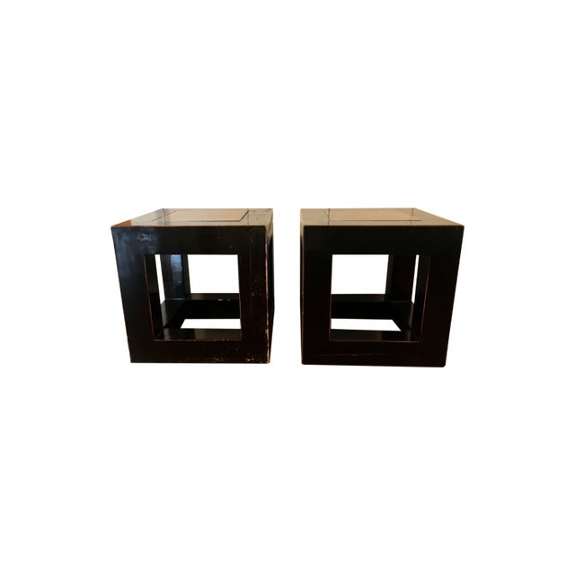 20th Century Asian Wood and Stone Cube Side Tables - a Pair For Sale In New York - Image 6 of 6