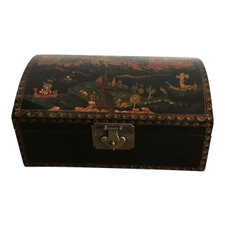 Vintage Chinoiserie Lacquered Storage Box