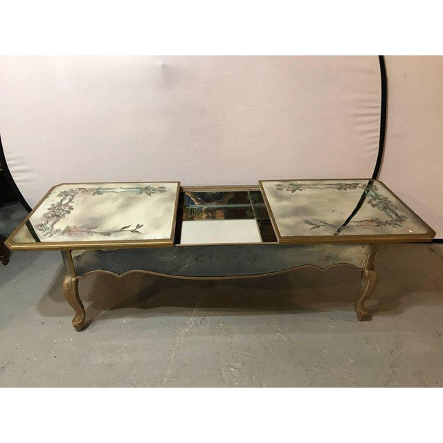 Hollywood Regency Italian Paint Decorated Sliding Mirror Top Coffee Low Table For Sale In New York - Image 6 of 11