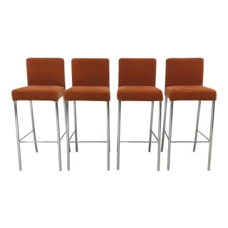 Brayton International Mohair Bar Stools - Set of 4 For Sale