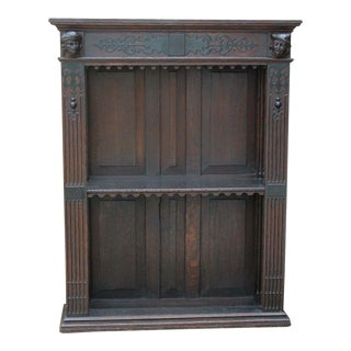 Antique English Oak 19th Century Renaissance Revival Plate Rack Wall Shelf Display Bookcase For Sale