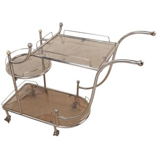 Mid-Century Steel Bar Cart With Smoked Glass Shelves For Sale