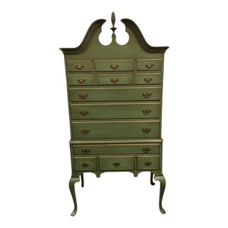 Vintage Green Highboy Dresser For Sale