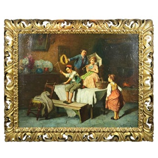 Early 20th Century Antique R. Jelnik Oil on Canvas Interior Genre Scene With Children Painting For Sale