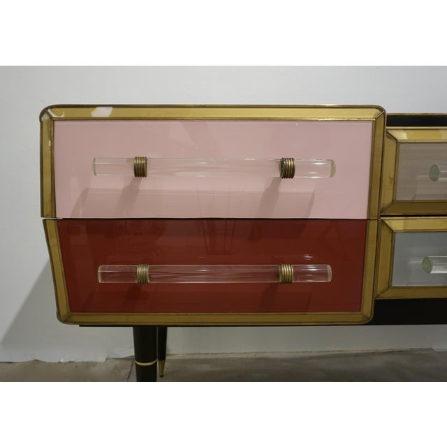 1960 Italian Vintage Rose Pink Gray Wine Gold 6 Drawers Sideboard / Console For Sale - Image 4 of 13
