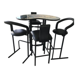 Bar Table and Stools - Set of 5 For Sale