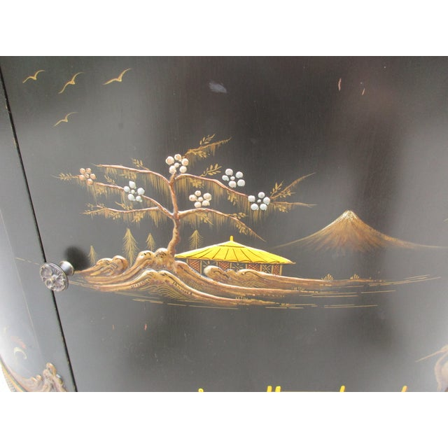 20th Century Chinoiserie Black Lacquered Demi-Lune Commode or Cabinet For Sale - Image 9 of 11