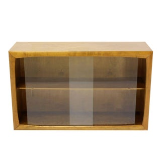 Edmund Spence Blonde Wood Swedish Modern Hanging Bookcase w/ Glass Sliding doors For Sale