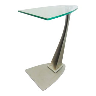 Modern Design Cantilever Glass & Steel Table For Sale