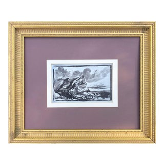 19th Century English Pen & Ink Wash Drawing / Painting of Coastal Cliff Seascape For Sale