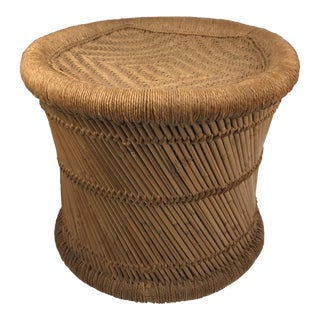 1970's Boho Chic Woven Rush Fiber and Reed Stool