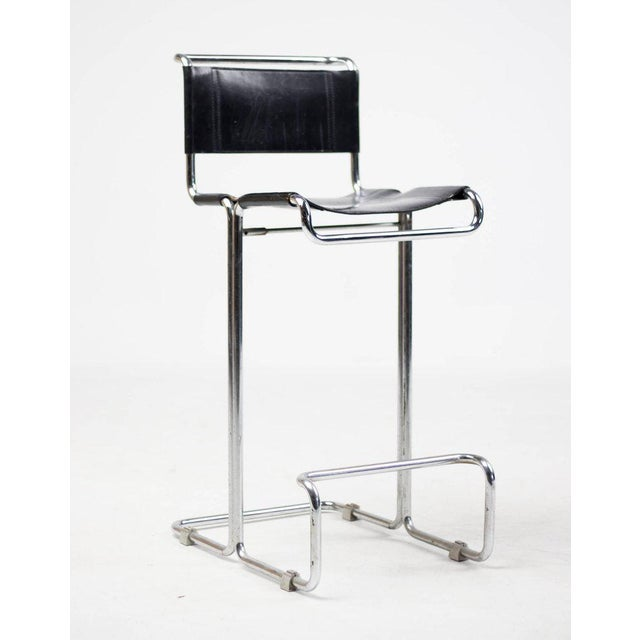 Bauhaus Pair of Leather Bar Stools, Bauhaus, Mart Stam For Sale - Image 3 of 10