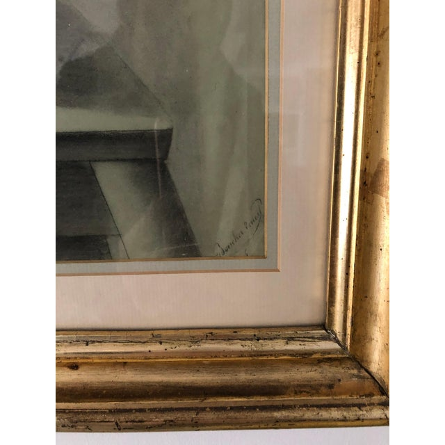 Beaux-Arts Vintage Charcoal Portrait in Neoclassic Style For Sale - Image 3 of 5