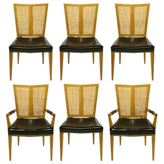 Set of Six Michael Taylor for Baker Walnut and Leather Dining Chairs For Sale