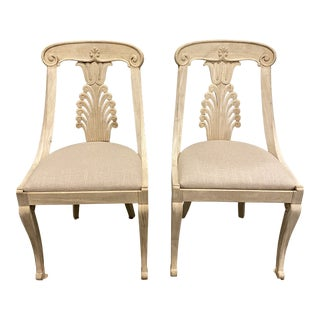 Vintage Bleached Fan Back Chairs With Linen Cushion - a Pair For Sale