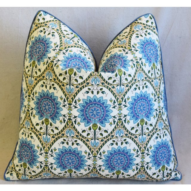 """Early 21st Century French Pierre Frey Taj Mahal Floral Botanical Feather/Down Pillow 19"""" Square For Sale - Image 5 of 6"""
