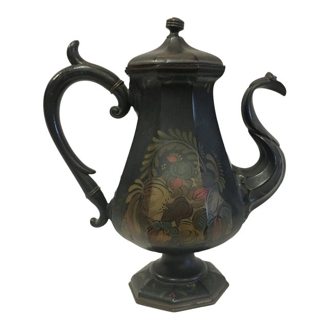 English Folk Art Toleware Pitcher For Sale