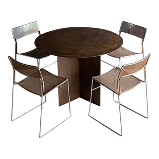 Richard Serra-Style Corten Steel Dining Table + 4 Arrben Sultana Chairs, Set of 5 For Sale