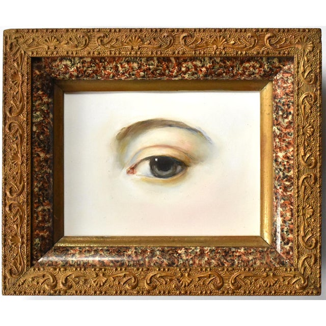 Wood Contemporary Lover's Eye Painting by Susannah Carson in a Victorian Marbled Frame For Sale - Image 7 of 7