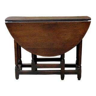 Antique English Traditional Oak Table Drop Leaf Gate Leg Farmhouse Sofa Table For Sale