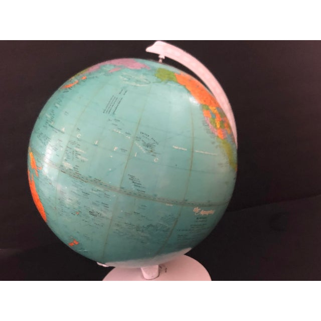 1970s Vintage Blue Replogle Table Globe With White Base For Sale In New York - Image 6 of 13