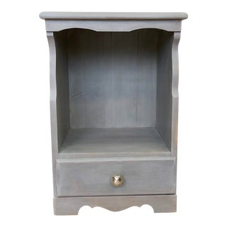 1960s Cottage Small Gray Nightstand For Sale