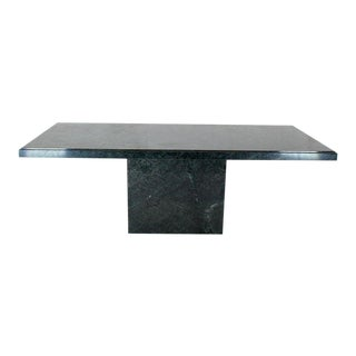 Rectangular Single Marble Pedestal and Top Dining Conference Table Deep Green For Sale