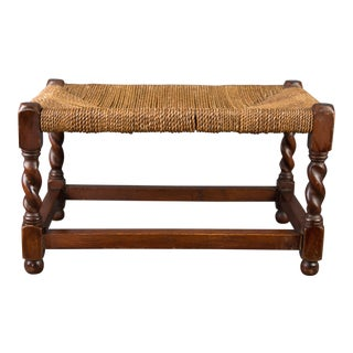 Antique English Barley Twist Oak and Cording Footstool For Sale