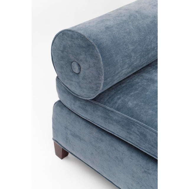 Blue Vintage Mid Century Bolster-Back Sofas- A Pair For Sale - Image 8 of 11