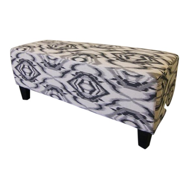 Contemporary White and Grey Ottoman/Stool - Image 1 of 6