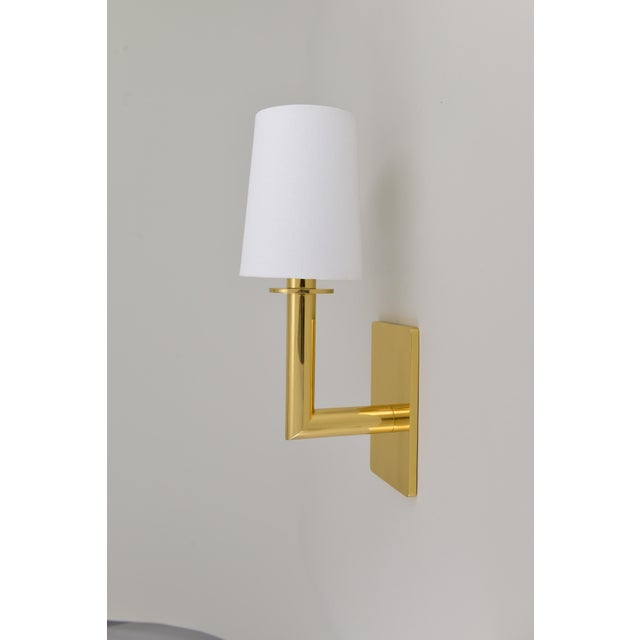 Mid-Century Modern Phoenix Day Polished Brass Jacob Sconces - a Pair For Sale - Image 3 of 8