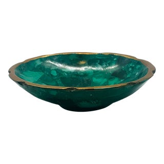 1970s Small Malachite and Brass Bowl For Sale