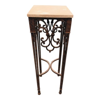 Vintage Hand Wrought Iron Stone Topped Pedestal For Sale