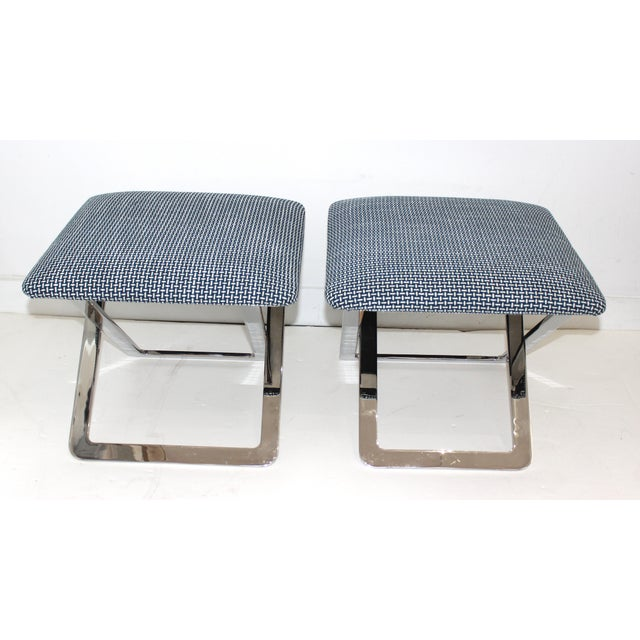 Mid-Century Modern Mid-Century Modern Milo Baughman Attributed X-Stools - a Pair For Sale - Image 3 of 11