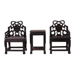 Chinese Rosewood Miniature Display - 3 Pieces For Sale