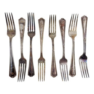 1930's Hotel Plaza Silver Plate Forks - Set of 8 For Sale