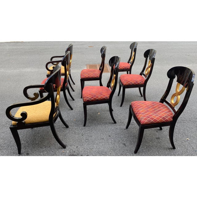 1990s Curved Gold Leaf Lacquered Scroll Arm Dining Chairs - Set of 8 For Sale - Image 5 of 12