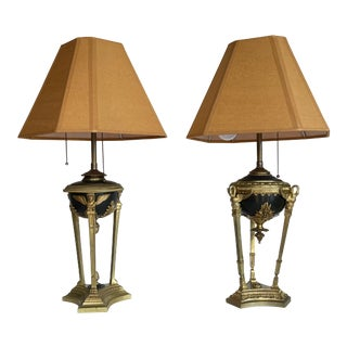 1950s Neoclassical Gilt Bronze Lamps - a Pair For Sale